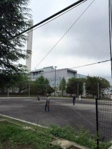 区立希望丘公園の球技場の水捌け改良工事と時計の再設置