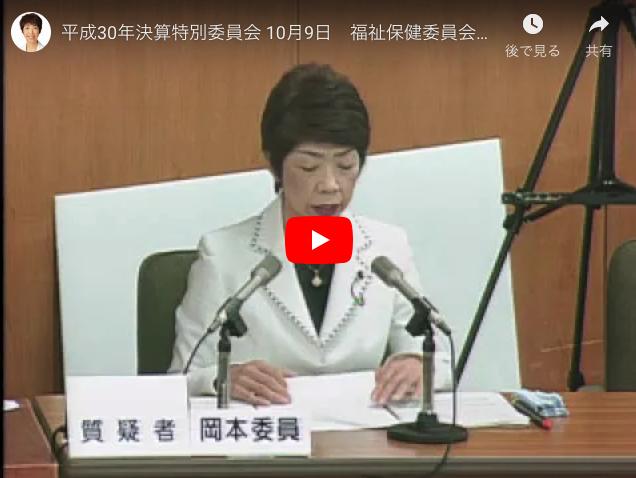 平成30年決算特別委員会 10月9日 福祉保健委員会所管質疑